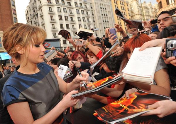 Jennifer Lawrence durante la presentación de Los Juegos del Hambre en Madrid