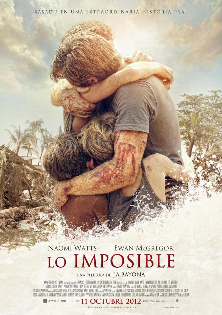 Lo imposible. Cartel. J.A. Bayona con Naomi Watts