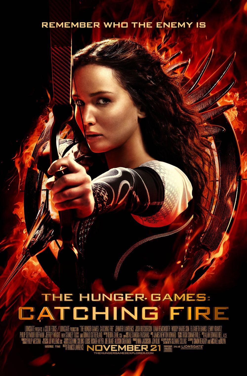 Los Juegos del Hambre 2: en llamas. Póster con Jennifer Lawrence