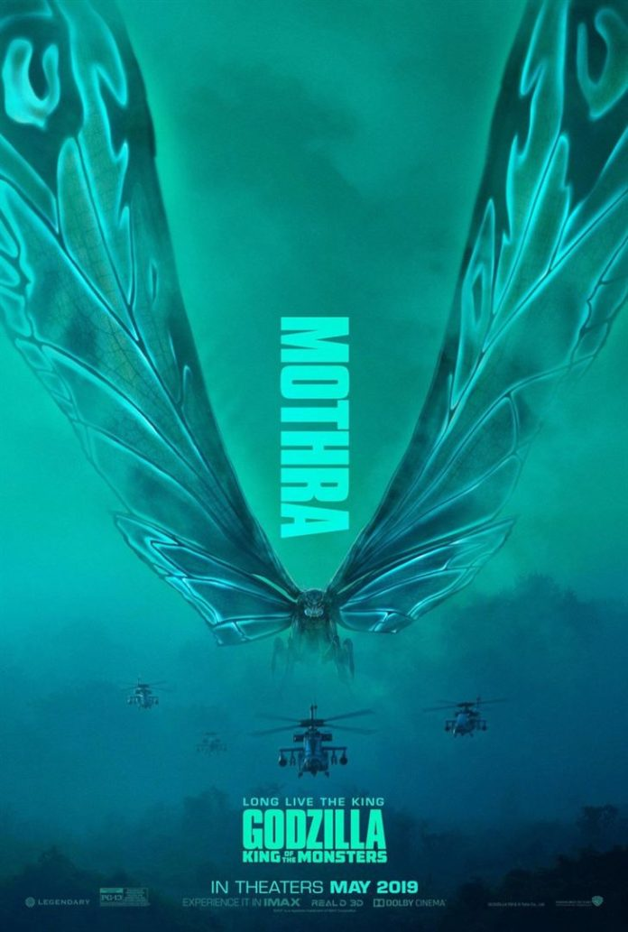 Póster de 'Godzilla. Rey de los monstruos' dedicado a Mothra. Warner Bros.