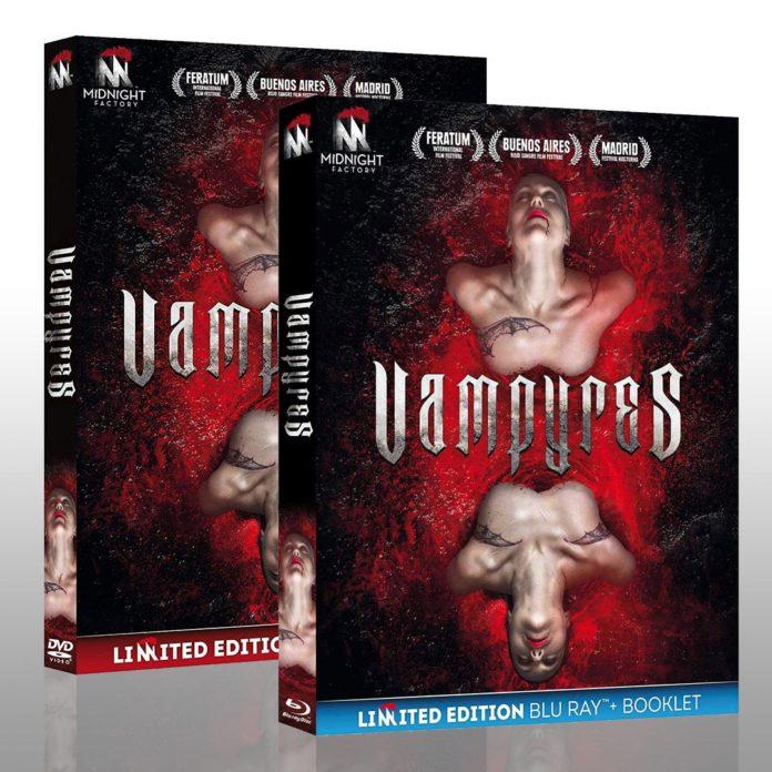 Carátulas de las ediciones italianas en Blu-Ray y DVD de 'Vampyres', de Víctor Matellano.