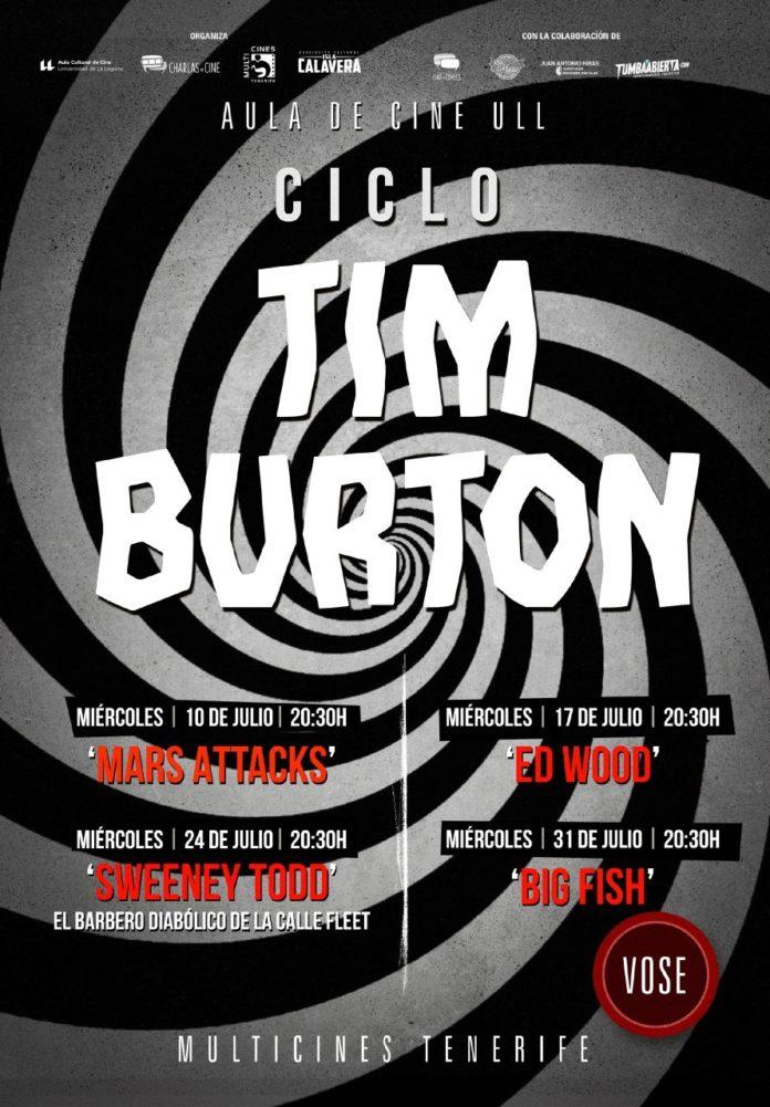 Cartel del ciclo Tim Burton, del Aula de Cine de la ULL.