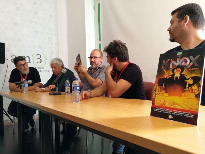 Imagen de la presentación del lanzamiento del cómic book 'Knox', conducida por Juan Antonio Ribas y con la participación de Sanjulián, Víctor Matellano, Ramón González y Tamo Castellano.
