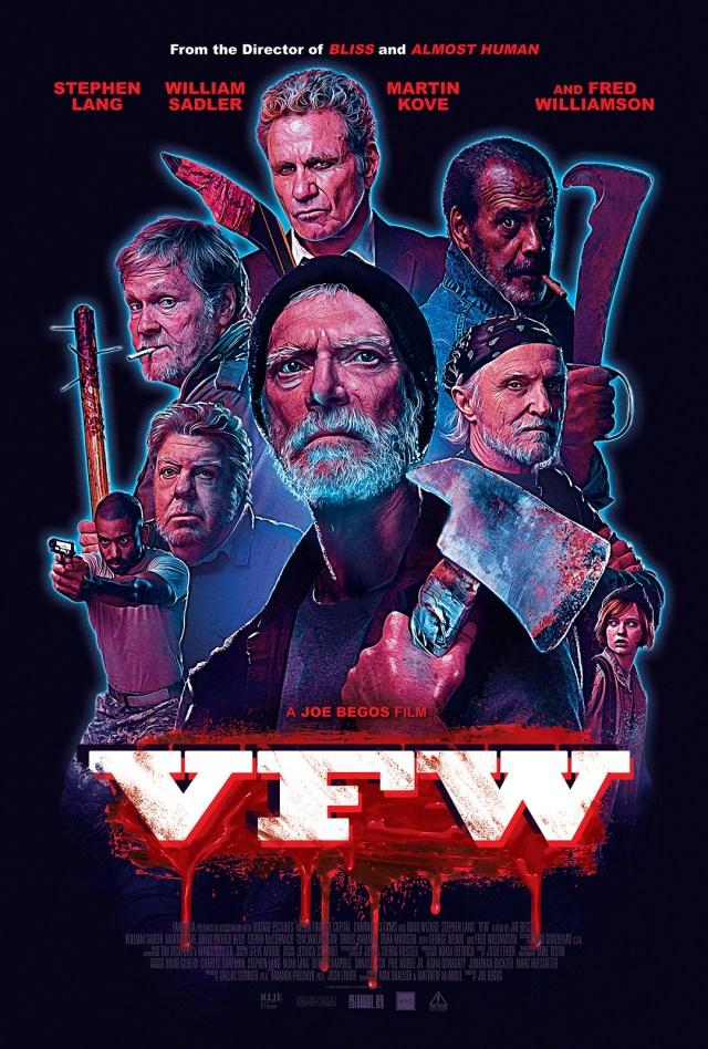 Cartel de 'VFW', según sus productores un cruce entre 'Grupo salvaje' y 'La noche de los muertos vivientes'.