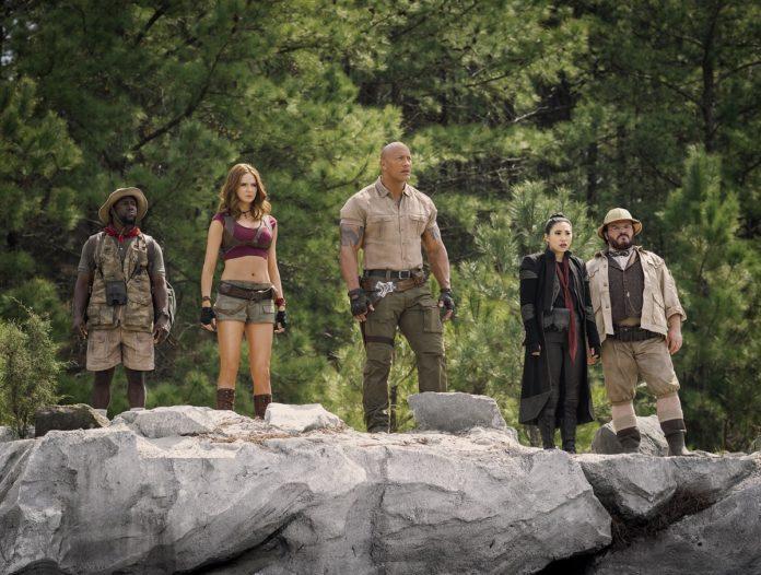 Kevin Hart, Karen Gillan, Dwayne Johnson, Awkwafina y Jack Black en 'Jumanji: Siguiente nivel'.