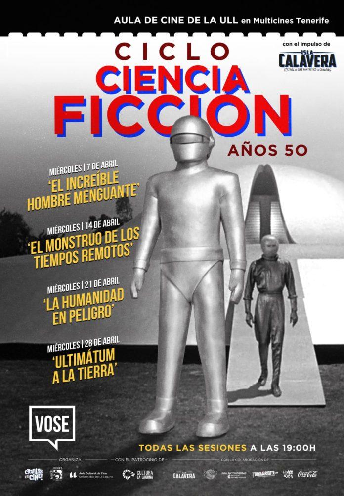 Cartel ciclo Ciencia Ficción de los años 50 del Aula de Cine de la ULL.
